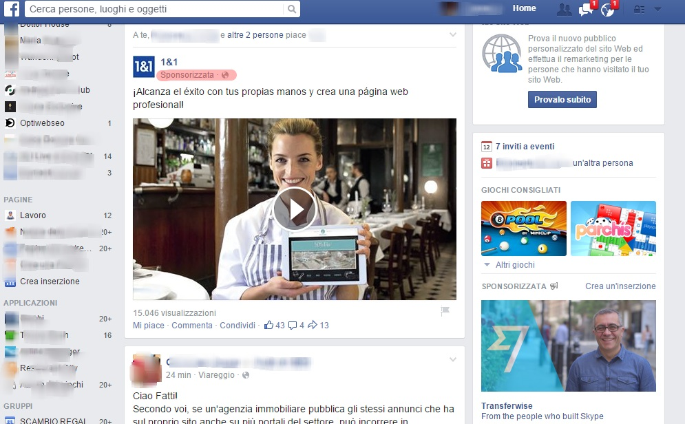 Facebook ads esempi