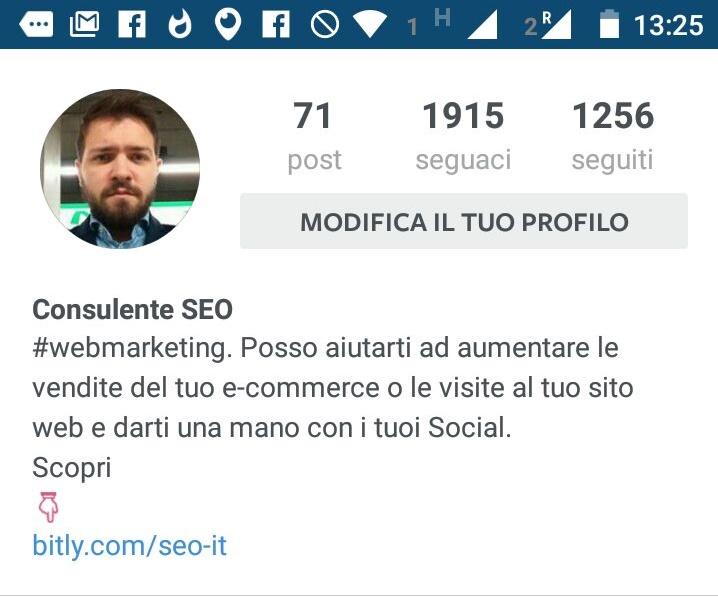 instagram biografia